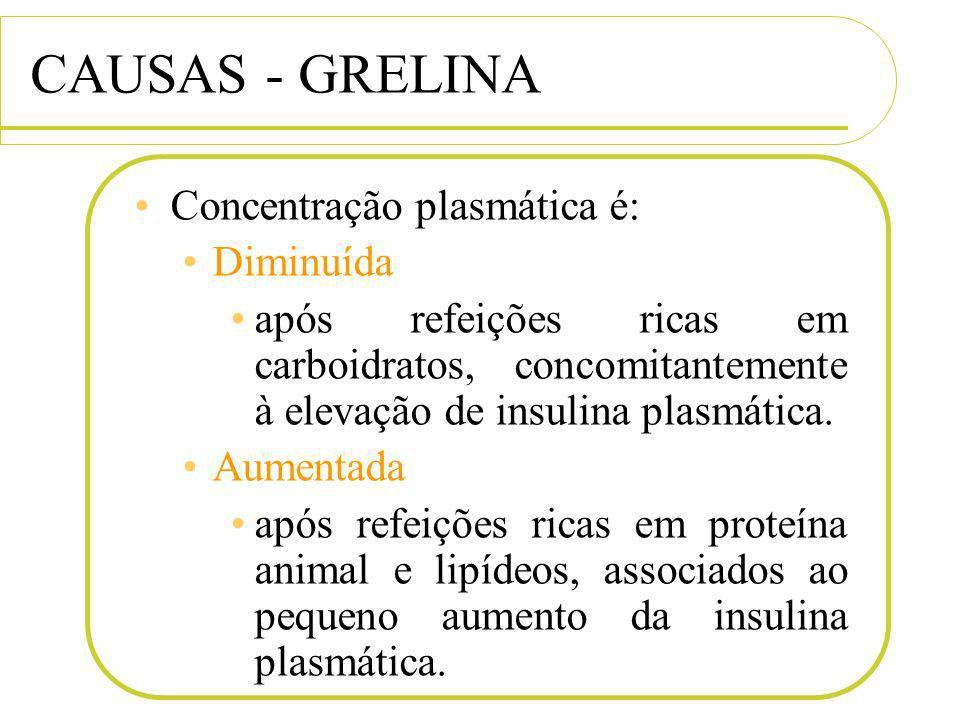 CAUSAS - GRELINA Concentração plasmática é: Diminuída após refeições ricas em carboidratos, concomitantemente à elevação de insulina plasmática. Aumen