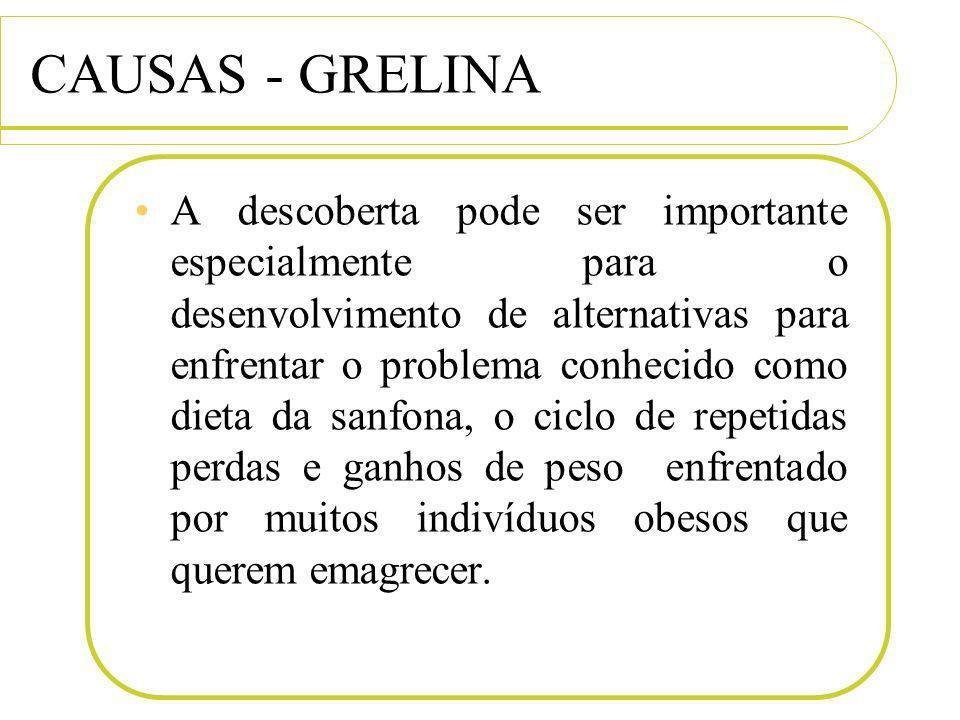 CAUSAS - GRELINA A descoberta pode ser importante especialmente para o desenvolvimento de alternativas para enfrentar o problema conhecido como dieta