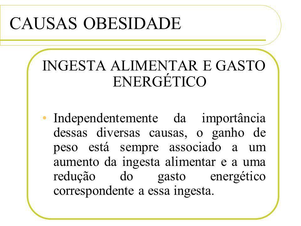 CAUSAS OBESIDADE INGESTA ALIMENTAR E GASTO ENERGÉTICO Independentemente da importância dessas diversas causas, o ganho de peso está sempre associado a