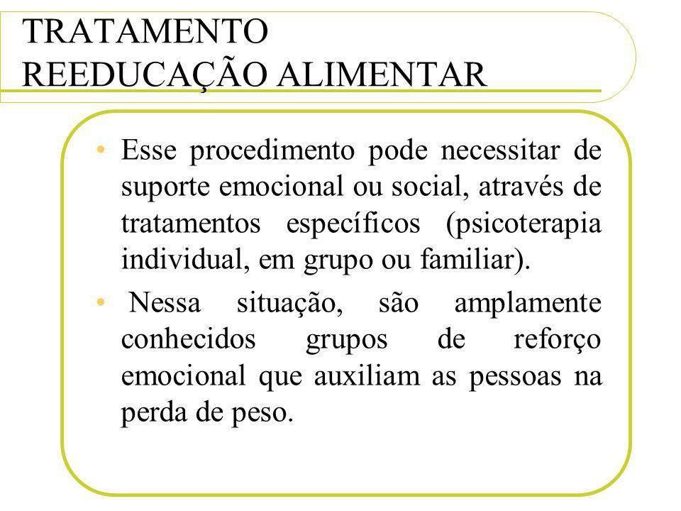 TRATAMENTO REEDUCAÇÃO ALIMENTAR Esse procedimento pode necessitar de suporte emocional ou social, através de tratamentos específicos (psicoterapia ind