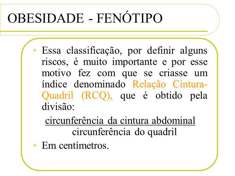 OBESIDADE - FENÓTIPO Essa classificação, por definir alguns riscos, é muito importante e por esse motivo fez com que se criasse um índice denominado R