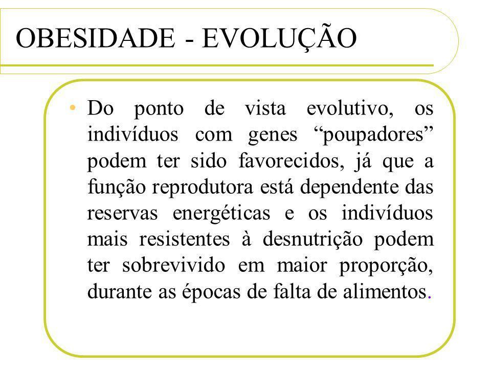 OBESIDADE - EVOLUÇÃO Do ponto de vista evolutivo, os indivíduos com genes poupadores podem ter sido favorecidos, já que a função reprodutora está depe