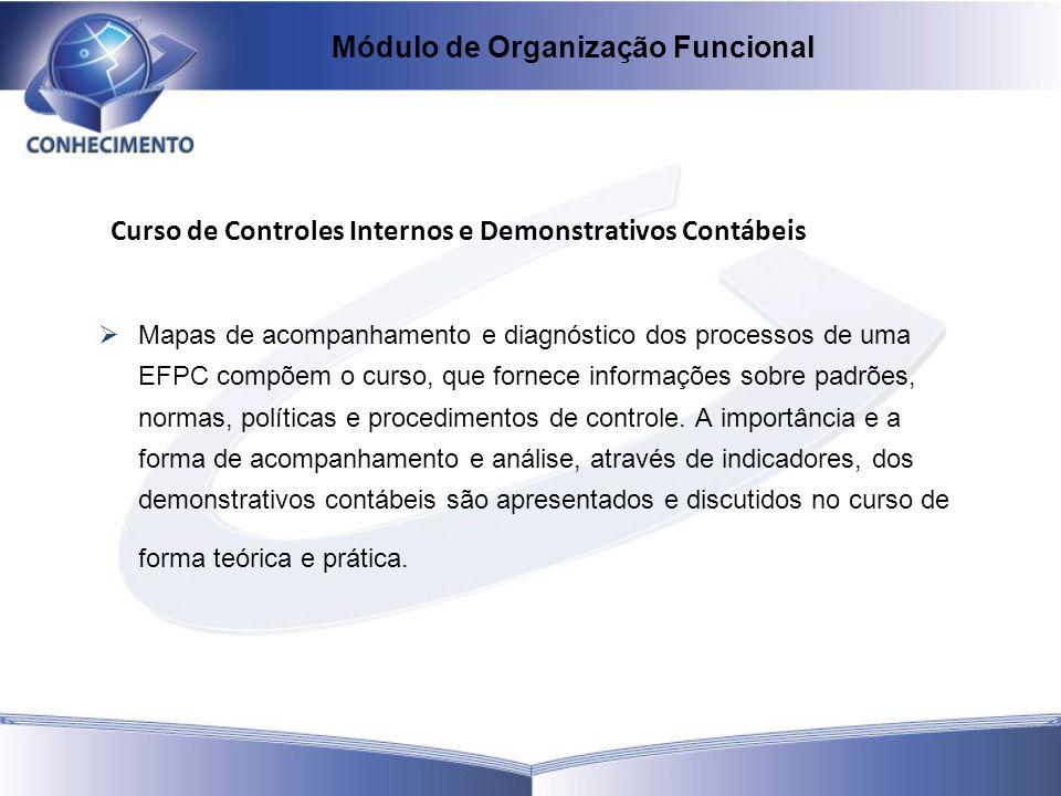 Curso de Controles Internos e Demonstrativos Contábeis Mapas de acompanhamento e diagnóstico dos processos de uma EFPC compõem o curso, que fornece in