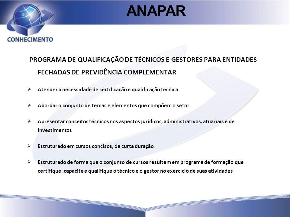 PROGRAMA DE QUALIFICAÇÃO DE TÉCNICOS E GESTORES PARA ENTIDADES FECHADAS DE PREVIDÊNCIA COMPLEMENTAR Atender a necessidade de certificação e qualificaç