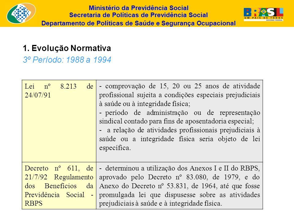 Ministério da Previdência Social Secretaria de Políticas de Previdência Social Departamento de Políticas de Saúde e Segurança Ocupacional Lei nº 8.213