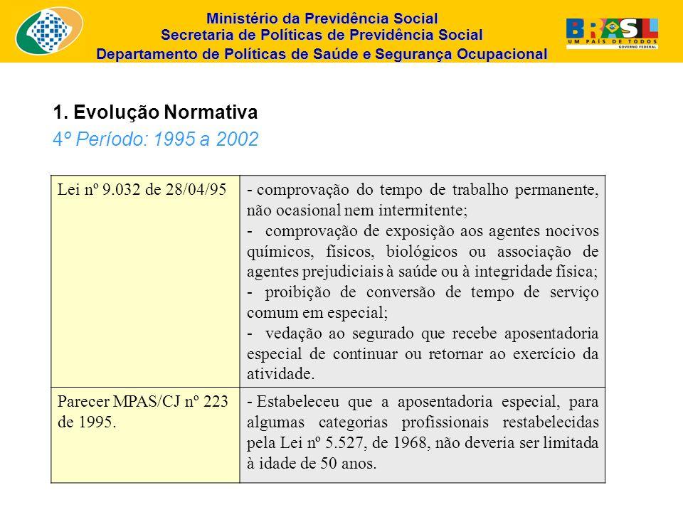 Ministério da Previdência Social Secretaria de Políticas de Previdência Social Departamento de Políticas de Saúde e Segurança Ocupacional Lei nº 9.032