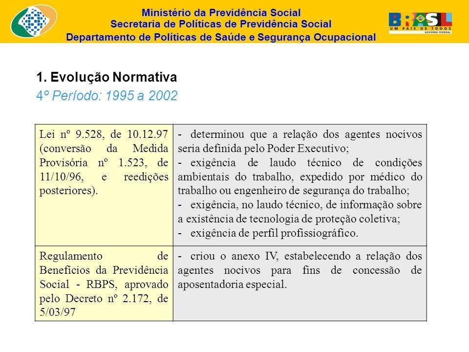 Ministério da Previdência Social Secretaria de Políticas de Previdência Social Departamento de Políticas de Saúde e Segurança Ocupacional Lei nº 9.528