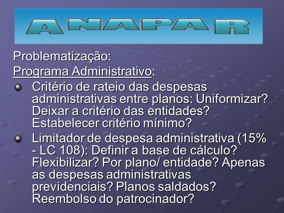Problematização: Programa Administrativo: Critério de rateio das despesas administrativas entre planos: Uniformizar? Deixar a critério das entidades?