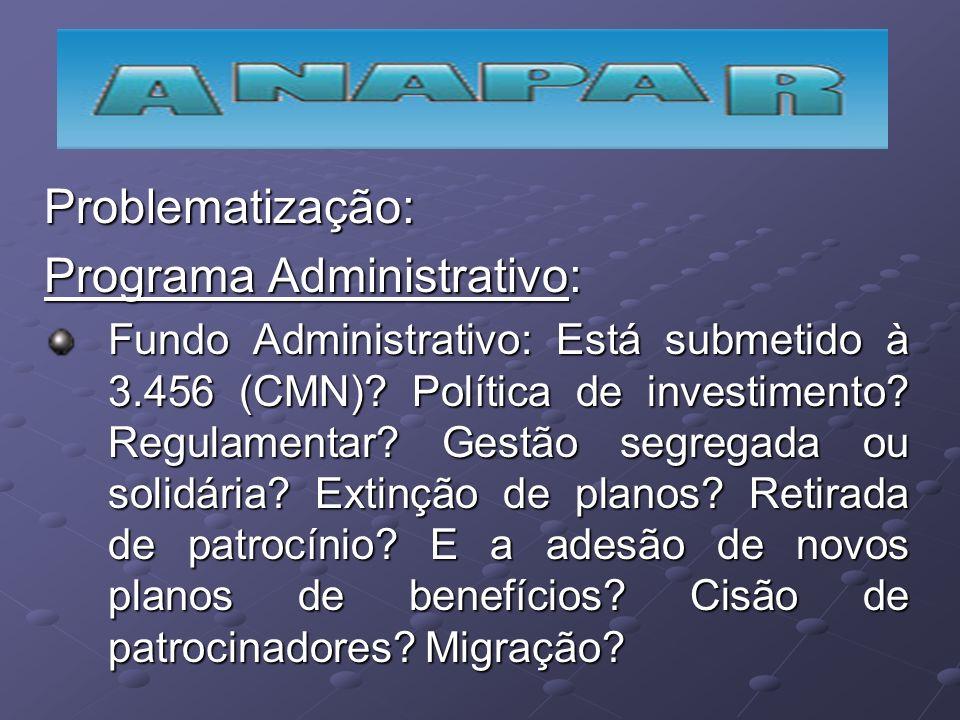 Problematização: Programa Administrativo: Fundo Administrativo: Está submetido à 3.456 (CMN)? Política de investimento? Regulamentar? Gestão segregada