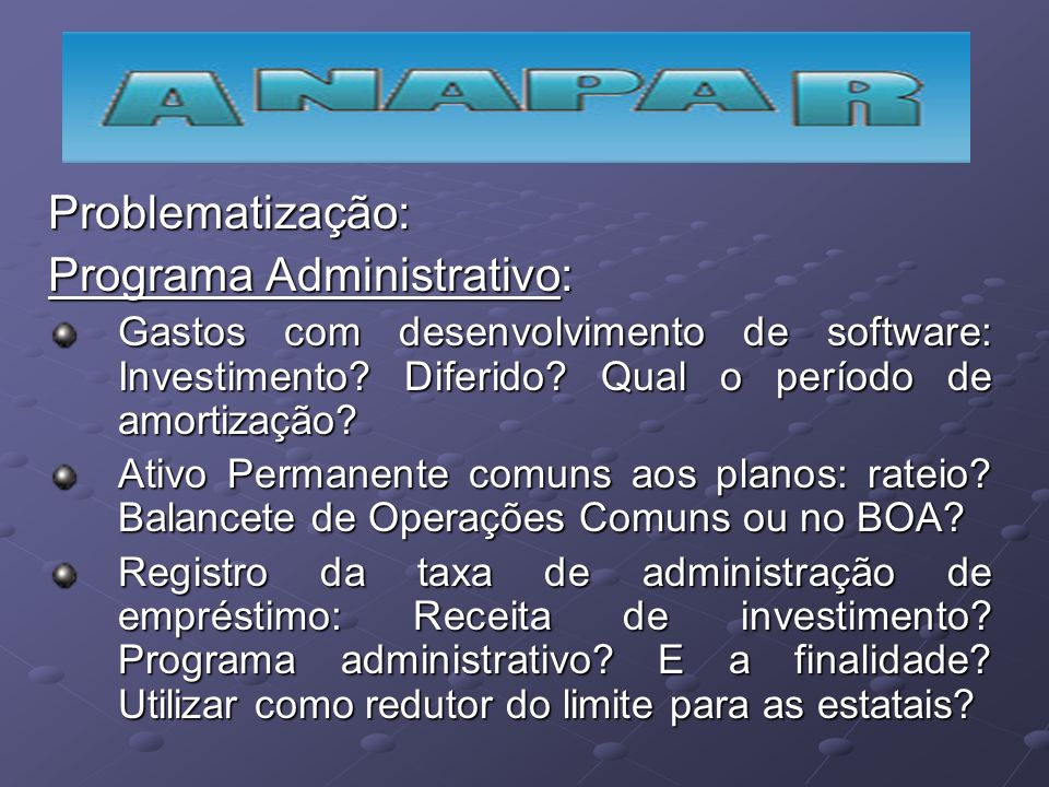Problematização: Programa Administrativo: Gastos com desenvolvimento de software: Investimento? Diferido? Qual o período de amortização? Ativo Permane