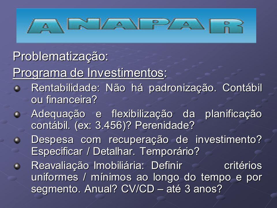 Problematização: Programa de Investimentos: Rentabilidade: Não há padronização. Contábil ou financeira? Adequação e flexibilização da planificação con