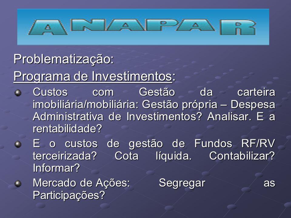 Problematização: Programa de Investimentos: Custos com Gestão da carteira imobiliária/mobiliária: Gestão própria – Despesa Administrativa de Investime