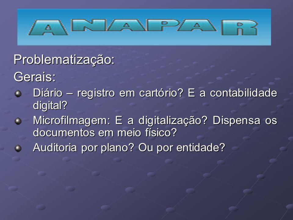 Problematização:Gerais: Diário – registro em cartório? E a contabilidade digital? Microfilmagem: E a digitalização? Dispensa os documentos em meio fís