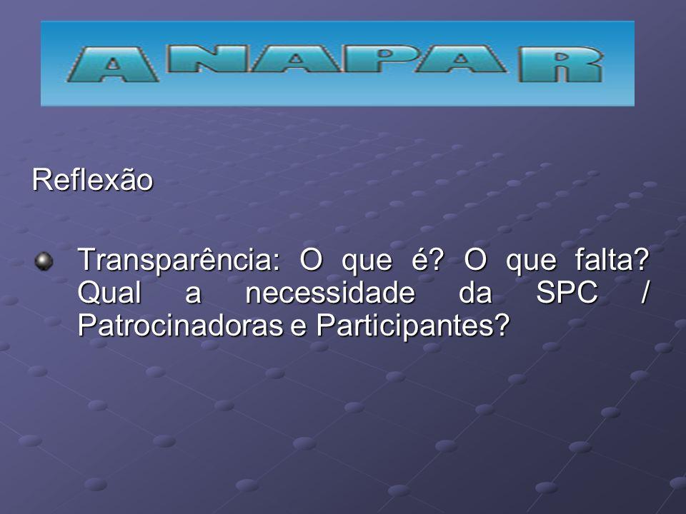 Reflexão Transparência: O que é? O que falta? Qual a necessidade da SPC / Patrocinadoras e Participantes?