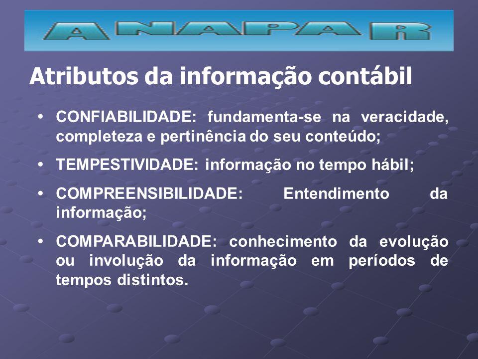 Atributos da informação contábil CONFIABILIDADE: fundamenta-se na veracidade, completeza e pertinência do seu conteúdo; TEMPESTIVIDADE: informação no