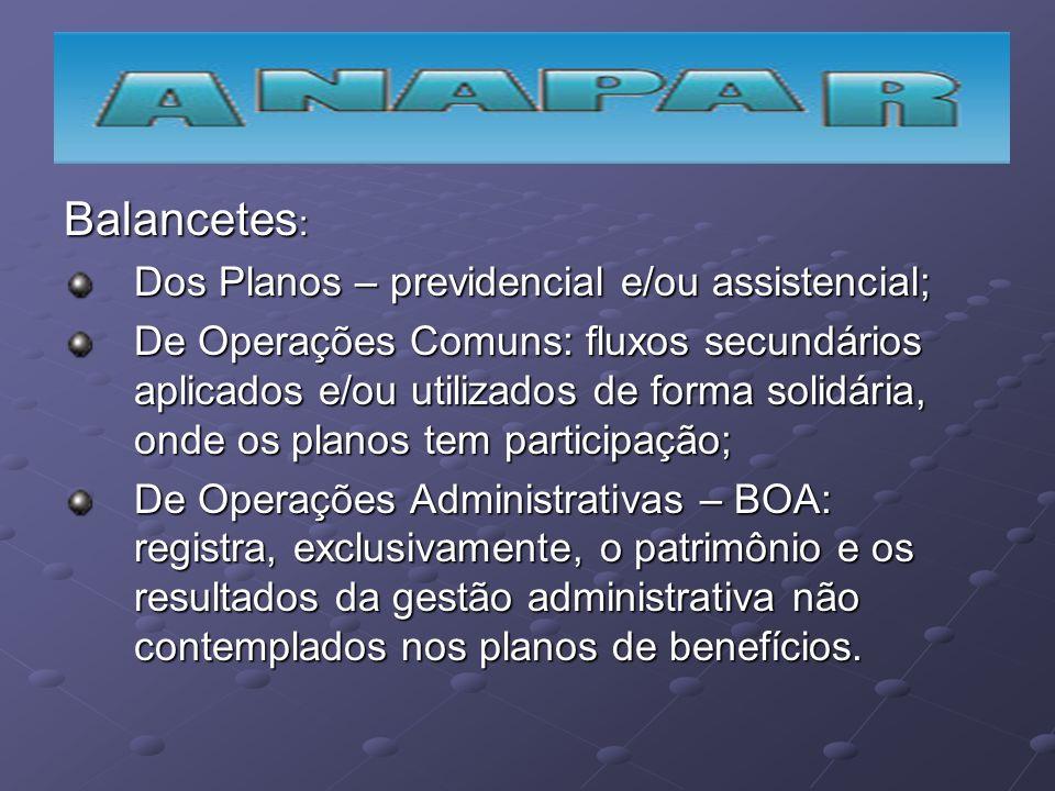 Balancetes : Dos Planos – previdencial e/ou assistencial; De Operações Comuns: fluxos secundários aplicados e/ou utilizados de forma solidária, onde o