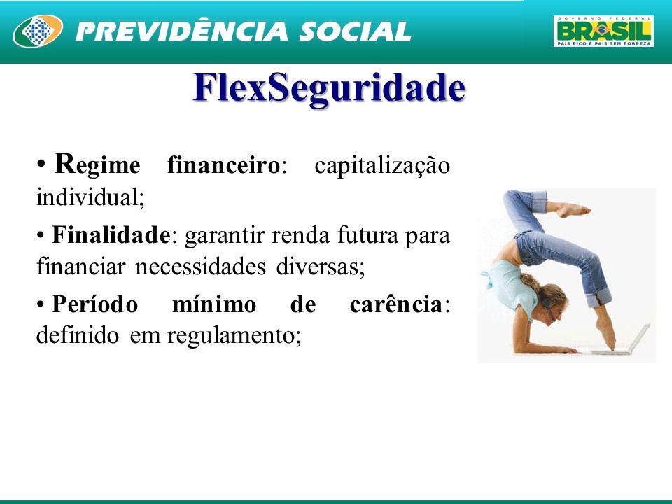 24 FlexSeguridade R egime financeiro: capitalização individual; Finalidade: garantir renda futura para financiar necessidades diversas; Período mínimo