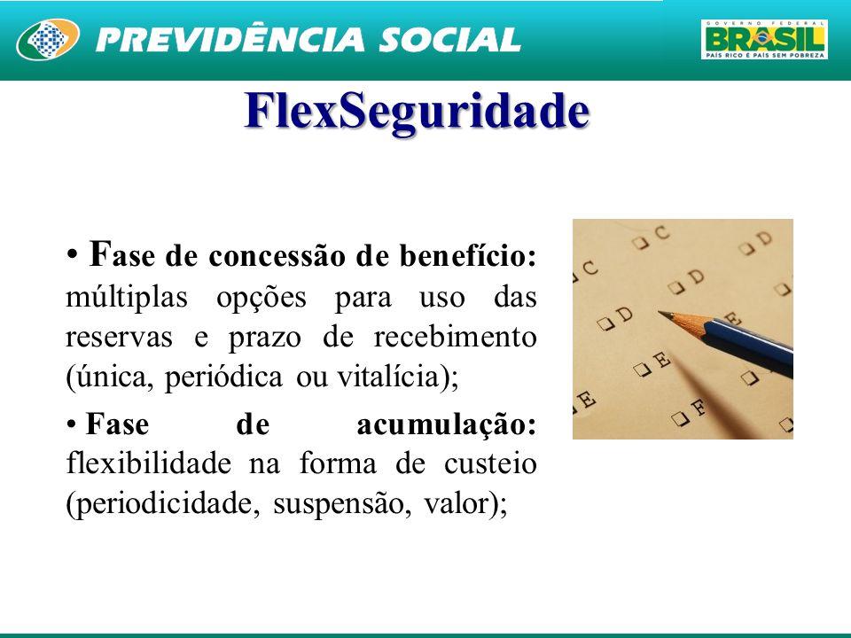 25 FlexSeguridade F ase de concessão de benefício: múltiplas opções para uso das reservas e prazo de recebimento (única, periódica ou vitalícia); Fase