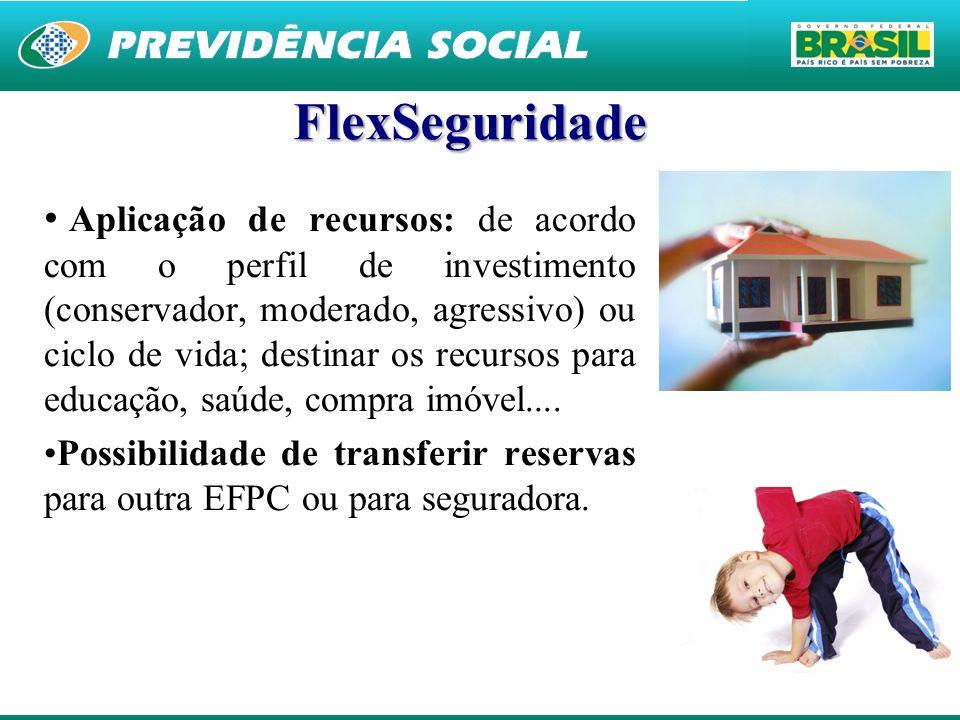 26 FlexSeguridade Aplicação de recursos: de acordo com o perfil de investimento (conservador, moderado, agressivo) ou ciclo de vida; destinar os recur
