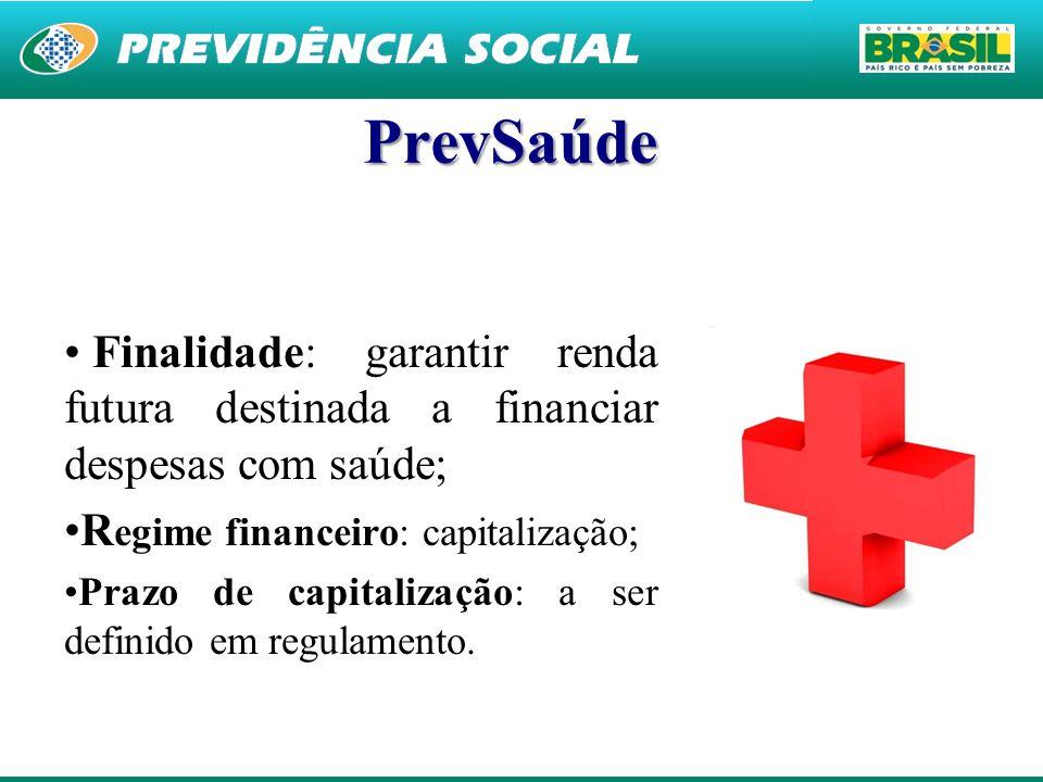 30 PrevSaúde Finalidade: garantir renda futura destinada a financiar despesas com saúde; R egime financeiro: capitalização; Prazo de capitalização: a