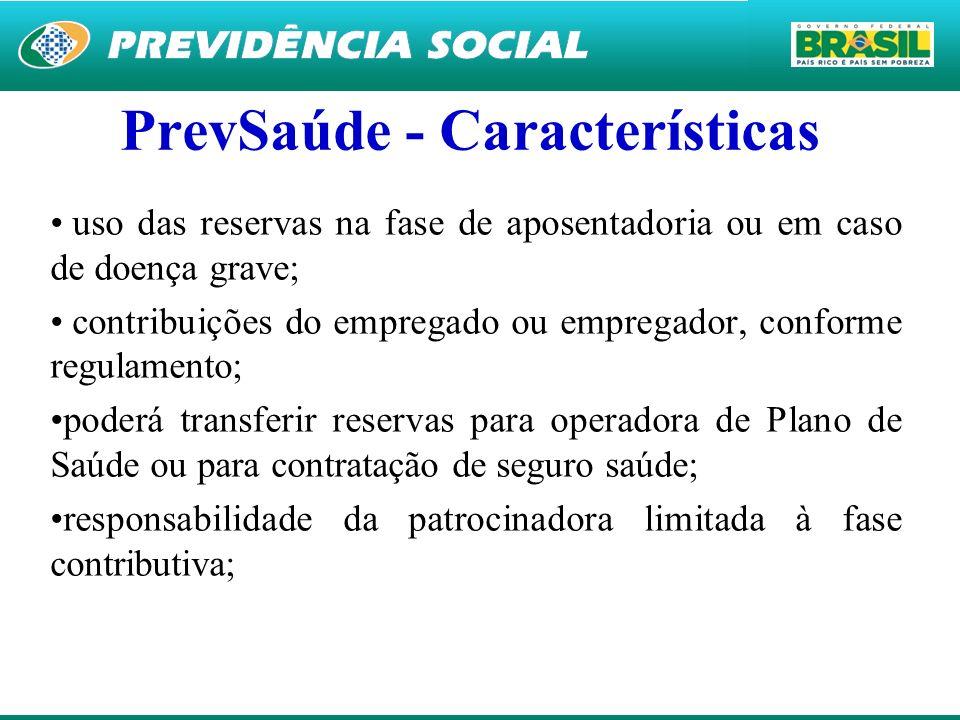31 PrevSaúde - Características uso das reservas na fase de aposentadoria ou em caso de doença grave; contribuições do empregado ou empregador, conform