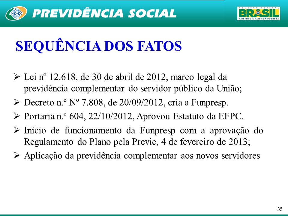 35 Lei nº 12.618, de 30 de abril de 2012, marco legal da previdência complementar do servidor público da União; Decreto n.º Nº 7.808, de 20/09/2012, c