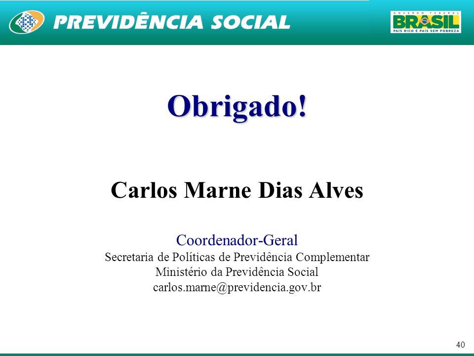 40 Obrigado! Carlos Marne Dias Alves Coordenador-Geral Secretaria de Políticas de Previdência Complementar Ministério da Previdência Social carlos.mar