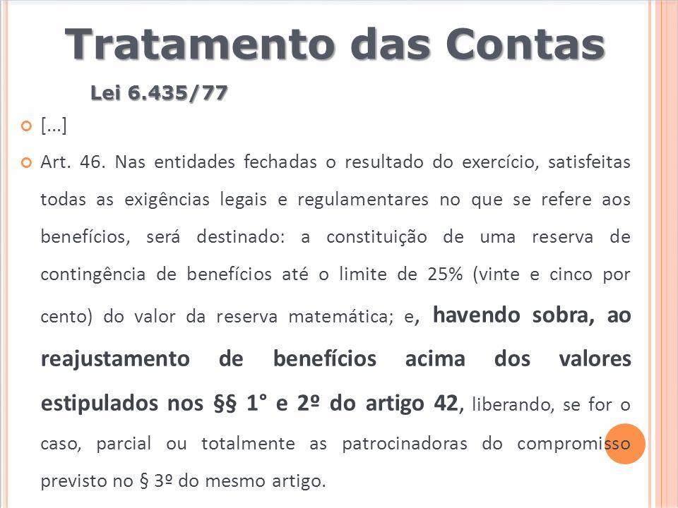Lei 6.435/77 Tratamento das Contas [...] Art. 46. Nas entidades fechadas o resultado do exercício, satisfeitas todas as exigências legais e regulament
