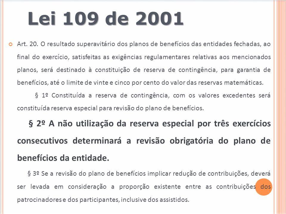 Lei 109 de 2001 Art. 20. O resultado superavitário dos planos de benefícios das entidades fechadas, ao final do exercício, satisfeitas as exigências r