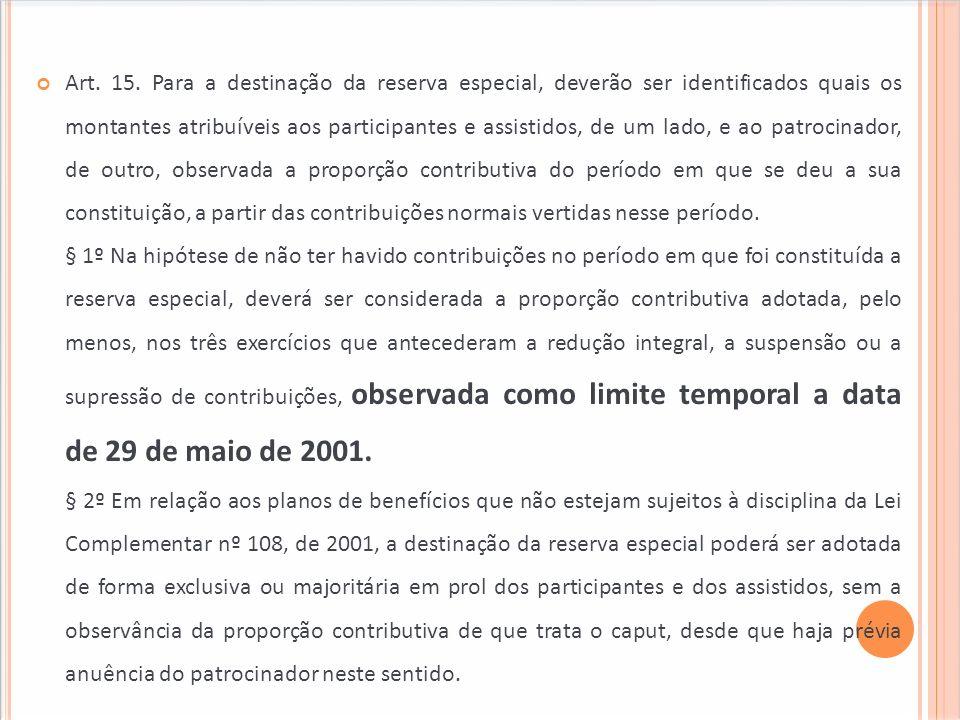Art. 15. Para a destinação da reserva especial, deverão ser identificados quais os montantes atribuíveis aos participantes e assistidos, de um lado, e