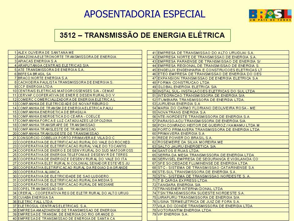 APOSENTADORIA ESPECIAL 3512 – TRANSMISSÃO DE ENERGIA ELÉTRICA