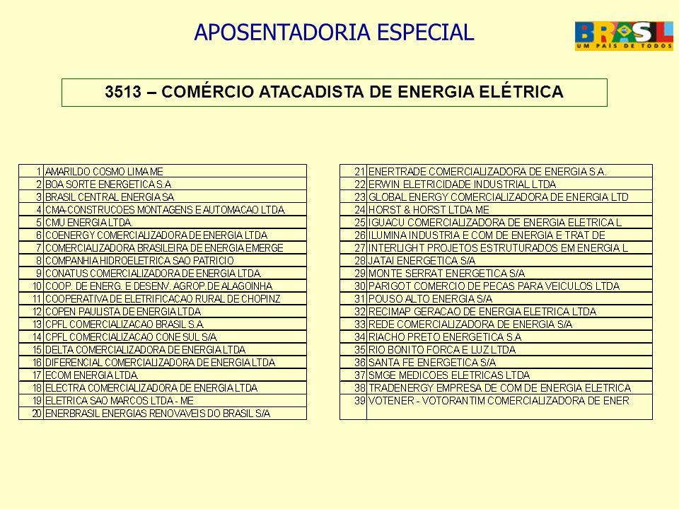 APOSENTADORIA ESPECIAL 3513 – COMÉRCIO ATACADISTA DE ENERGIA ELÉTRICA