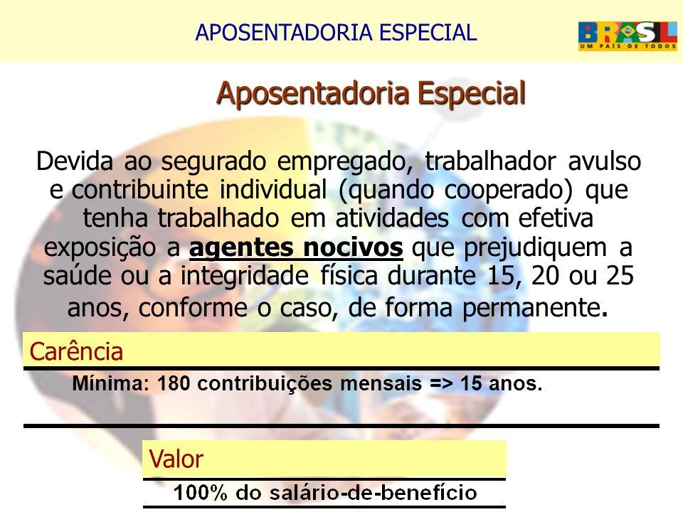 APOSENTADORIA ESPECIAL Aposentadoria Especial agentes nocivos que Devida ao segurado empregado, trabalhador avulso e contribuinte individual (quando c