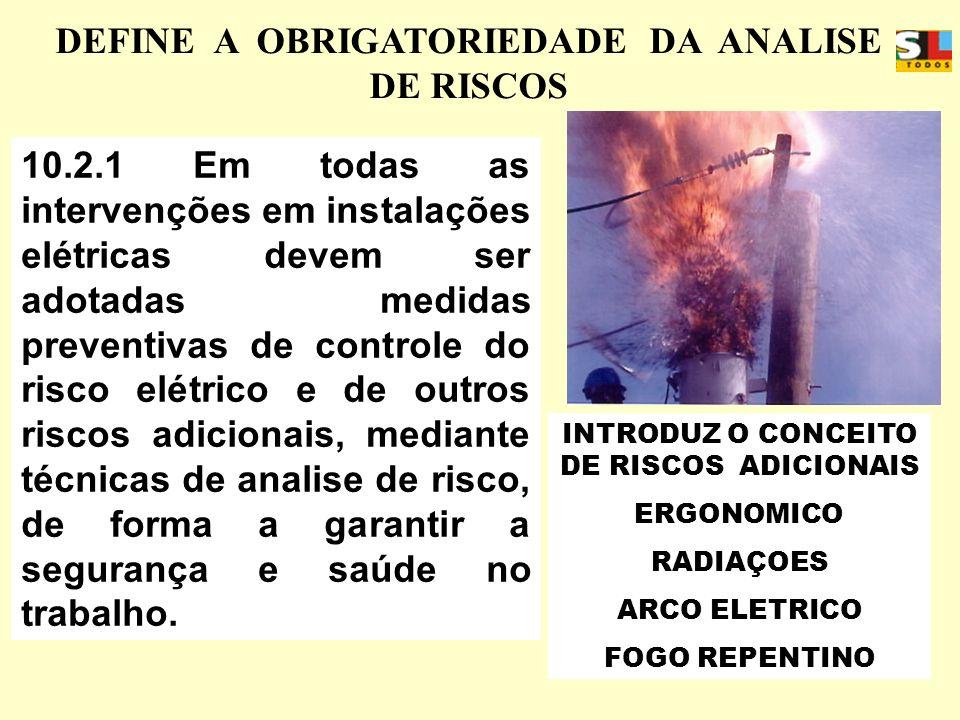 APOSENTADORIA ESPECIAL 10.2.1 Em todas as intervenções em instalações elétricas devem ser adotadas medidas preventivas de controle do risco elétrico e