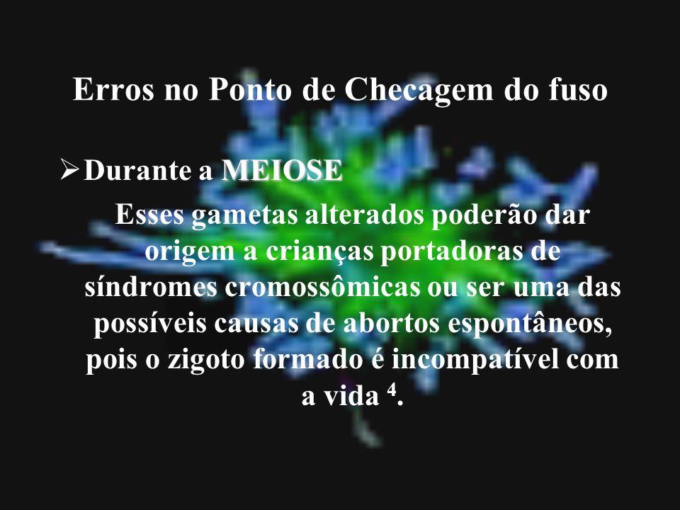 Erros no Ponto de Checagem do fuso MEIOSE Durante a MEIOSE Esses gametas alterados poderão dar origem a crianças portadoras de síndromes cromossômicas