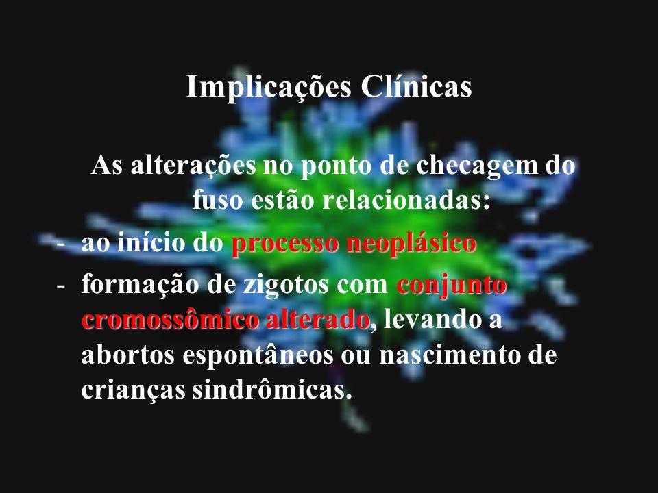 Implicações Clínicas As alterações no ponto de checagem do fuso estão relacionadas: processo neoplásico -ao início do processo neoplásico conjunto cro