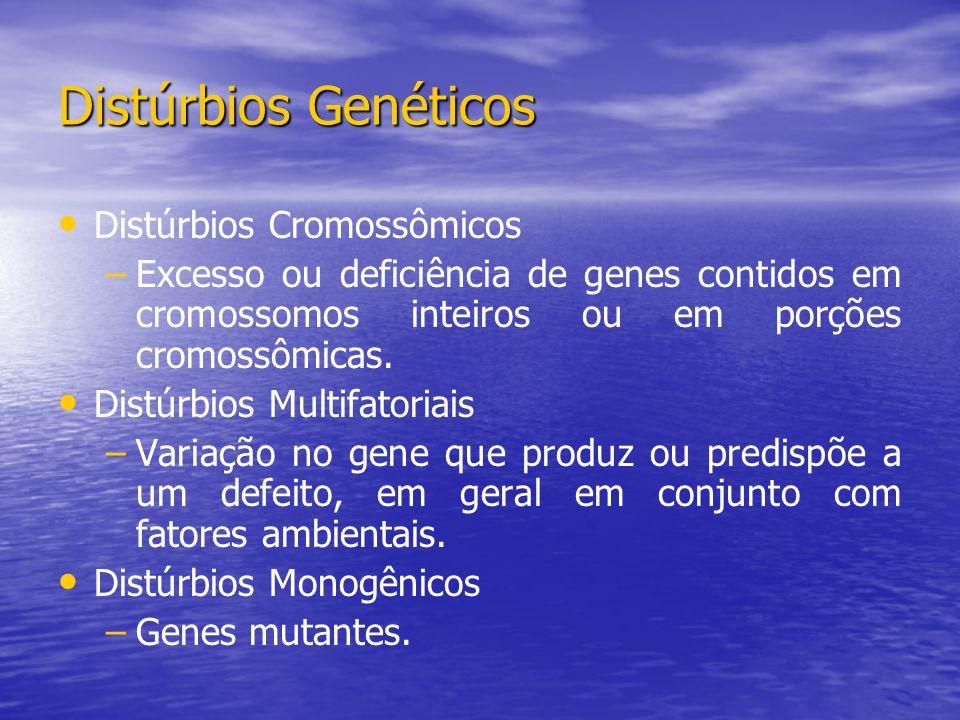 Distúrbios Genéticos Distúrbios Cromossômicos – –Excesso ou deficiência de genes contidos em cromossomos inteiros ou em porções cromossômicas. Distúrb