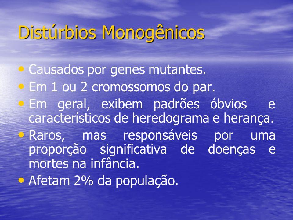 Distúrbios Monogênicos Causados por genes mutantes. Em 1 ou 2 cromossomos do par. Em geral, exibem padrões óbvios e característicos de heredograma e h