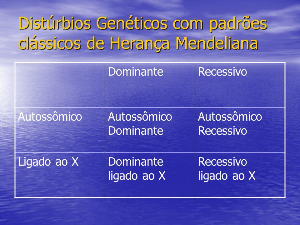 Distúrbios Genéticos com padrões clássicos de Herança Mendeliana DominanteRecessivo AutossômicoAutossômico Dominante Autossômico Recessivo Ligado ao XDominante ligado ao X Recessivo ligado ao X