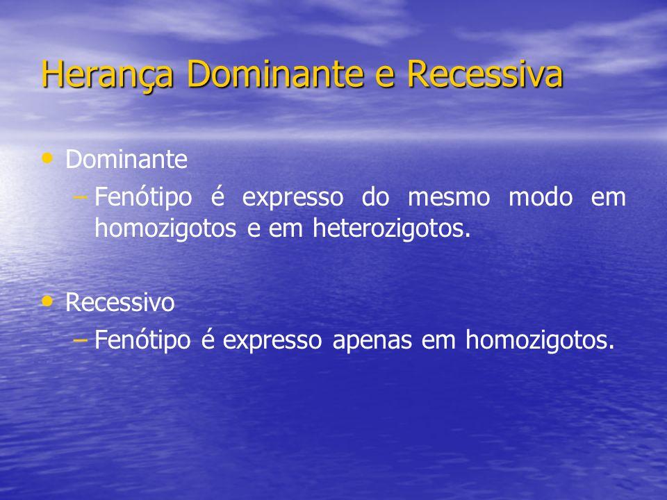 Herança Dominante e Recessiva Dominante – –Fenótipo é expresso do mesmo modo em homozigotos e em heterozigotos. Recessivo – –Fenótipo é expresso apena