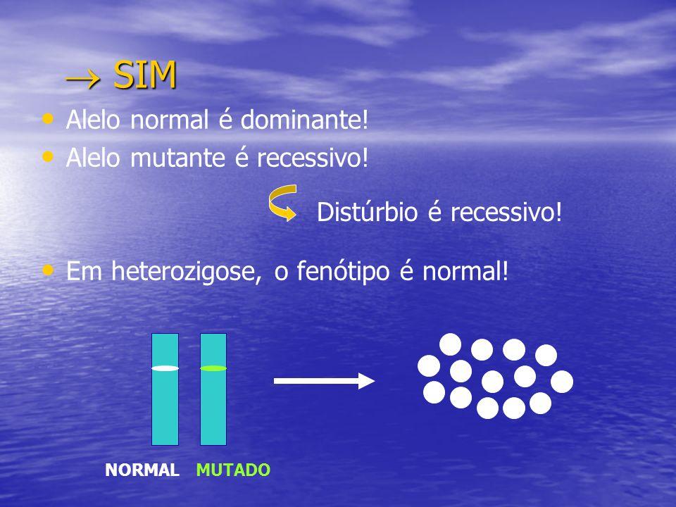 SIM SIM Alelo normal é dominante! Alelo mutante é recessivo! Em heterozigose, o fenótipo é normal! NORMALMUTADO Distúrbio é recessivo!