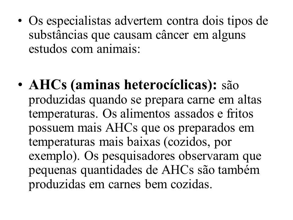 Os especialistas advertem contra dois tipos de substâncias que causam câncer em alguns estudos com animais: AHCs (aminas heterocíclicas): são produzid