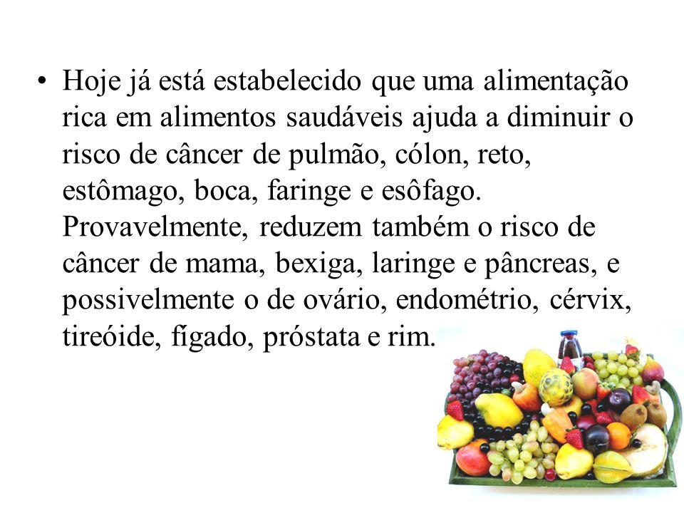 Hoje já está estabelecido que uma alimentação rica em alimentos saudáveis ajuda a diminuir o risco de câncer de pulmão, cólon, reto, estômago, boca, f