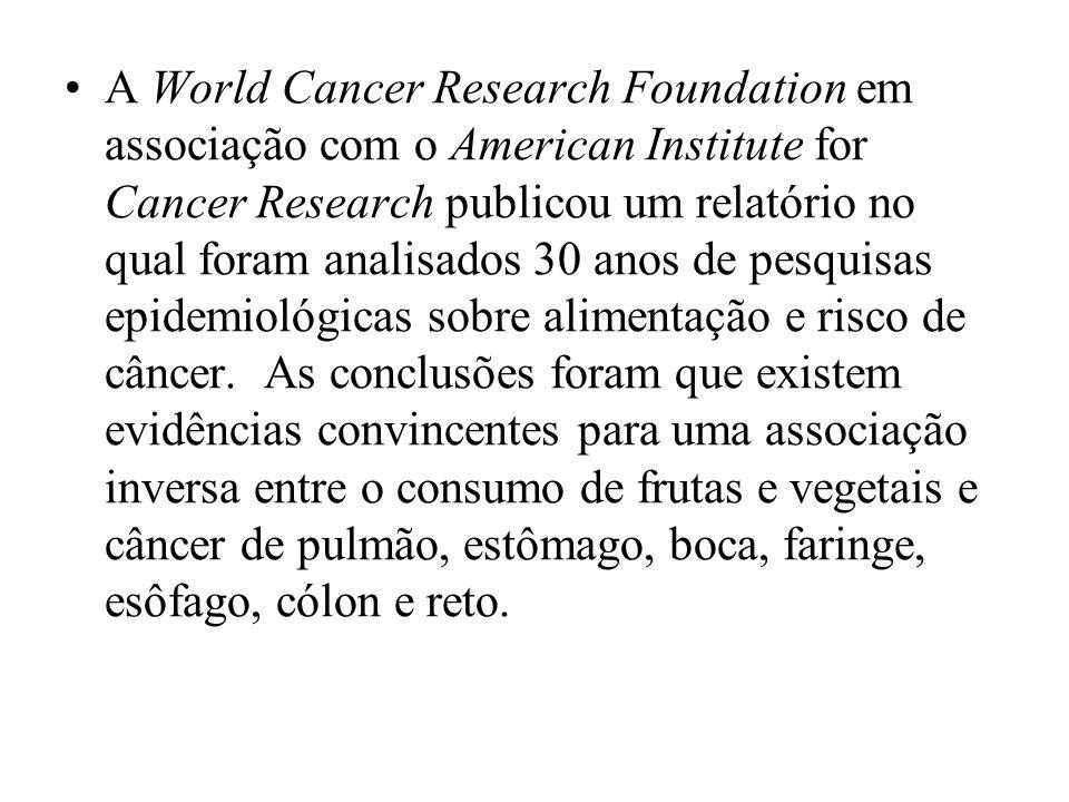 A World Cancer Research Foundation em associação com o American Institute for Cancer Research publicou um relatório no qual foram analisados 30 anos d