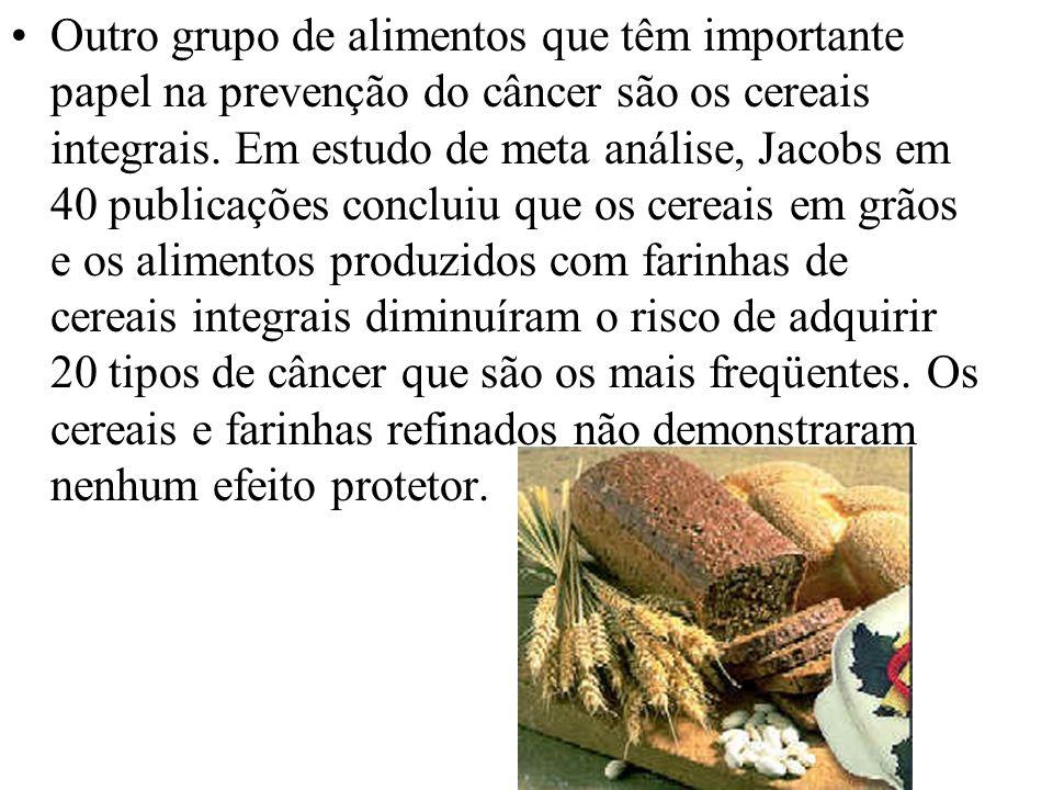 Outro grupo de alimentos que têm importante papel na prevenção do câncer são os cereais integrais. Em estudo de meta análise, Jacobs em 40 publicações