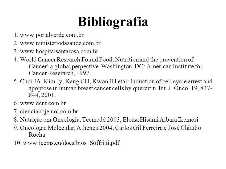 Bibliografia 1. www.portalverde.com.br 2. www.ministériodasaude.com.br 3. www.hospitalsantarosa.com.br 4. World Cancer Research Found Food, Nutrition