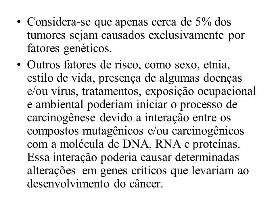 Considera-se que apenas cerca de 5% dos tumores sejam causados exclusivamente por fatores genéticos. Outros fatores de risco, como sexo, etnia, estilo