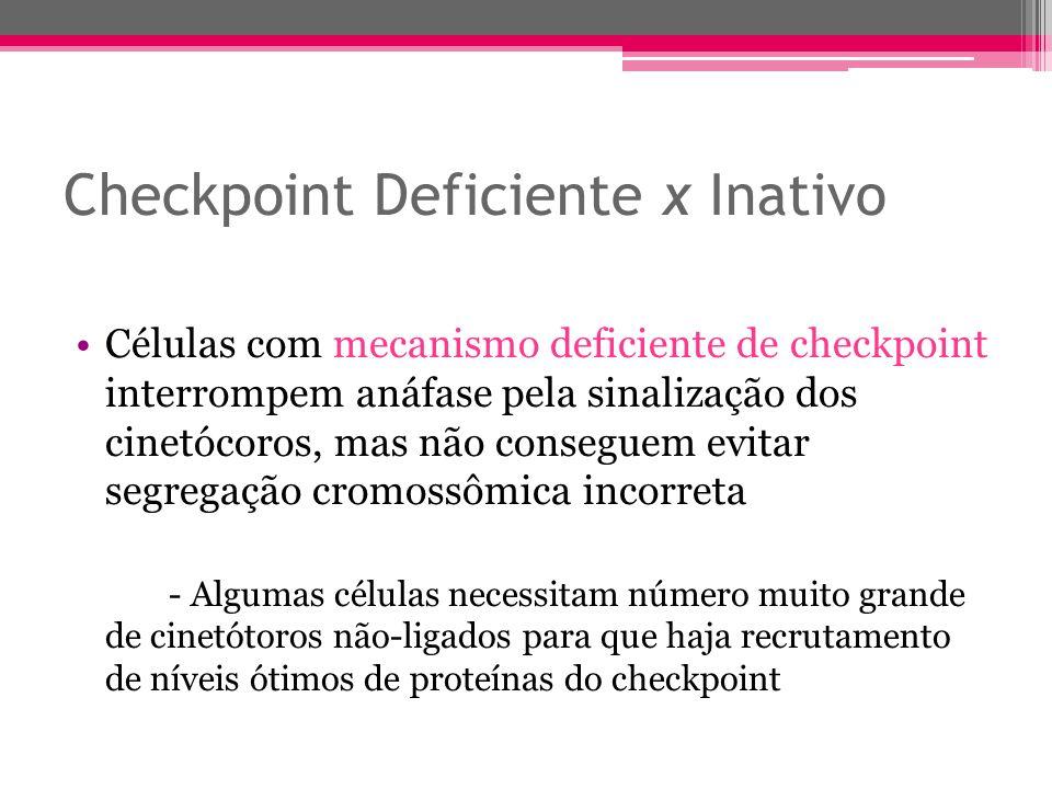 Checkpoint Deficiente x Inativo Células com mecanismo deficiente de checkpoint interrompem anáfase pela sinalização dos cinetócoros, mas não conseguem