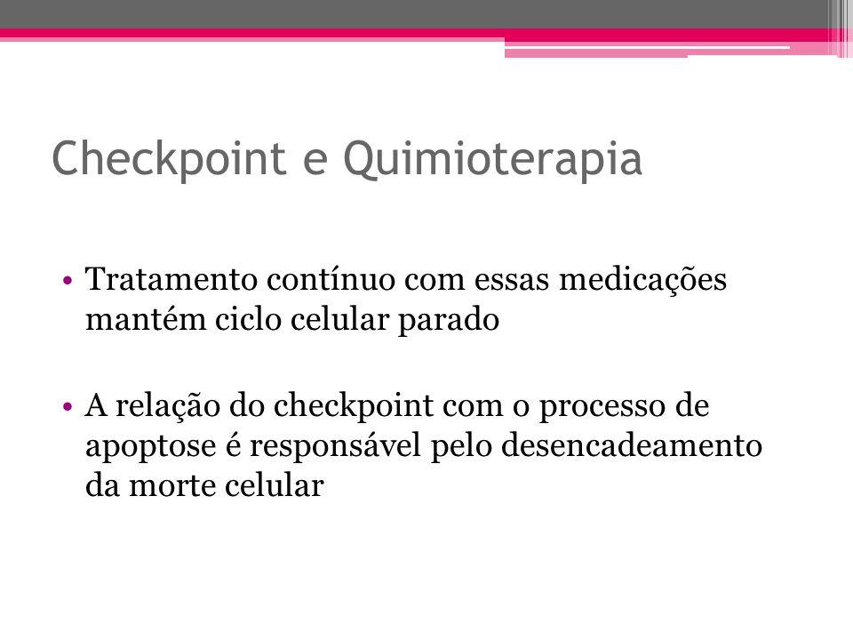 Tratamento contínuo com essas medicações mantém ciclo celular parado A relação do checkpoint com o processo de apoptose é responsável pelo desencadeam