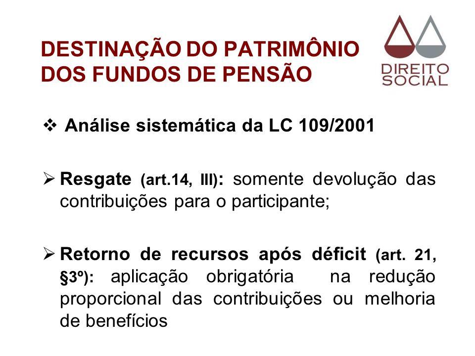 DESTINAÇÃO DO PATRIMÔNIO DOS FUNDOS DE PENSÃO Análise sistemática da LC 109/2001 Resgate (art.14, III) : somente devolução das contribuições para o pa